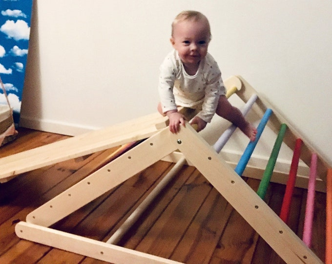 Featured listing image: Painted Pikler triangle, Step Triangle, Climbing ladder for toddler, Climbing triangle for toddlers, Triangle with ramp, Pikler dreieck