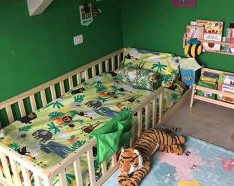 Toddler bed with slats , Nursery crib, kids bed, wood bed, Montessori bed, kids bedroom, floor bed, www.home4dreams.com