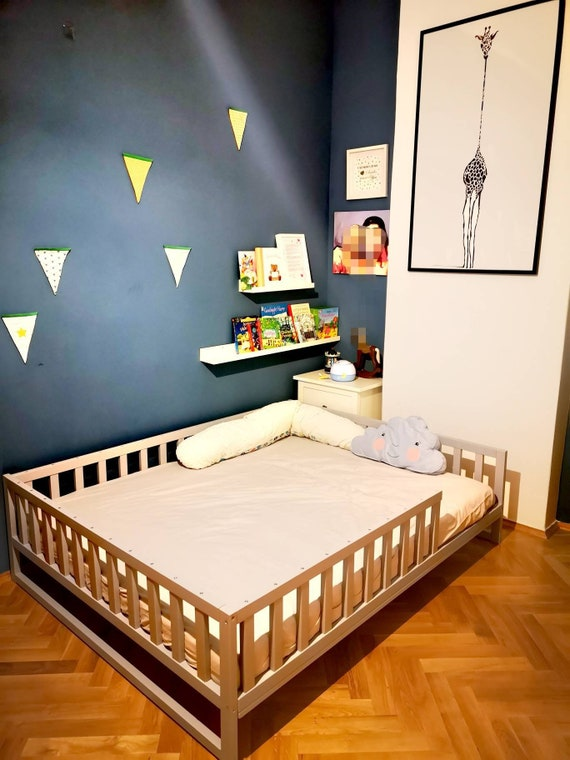 Painted toddler bed , Nursery crib ,childrens beds, kids beds, wood bed, waldorf toy, Montessori bed, kids bedroom, floor bed