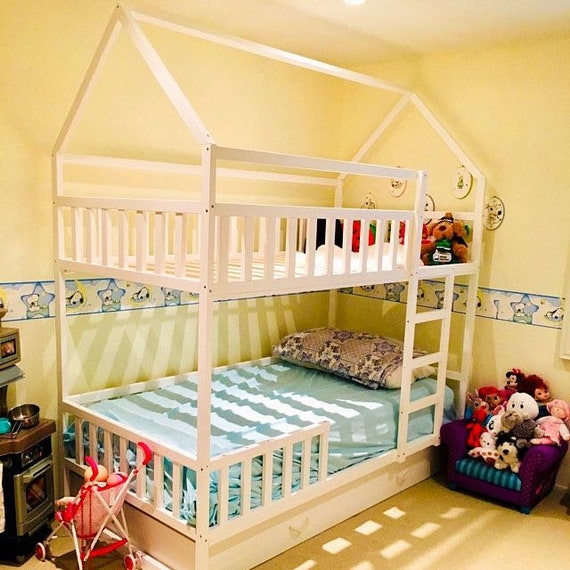 PAINTED with ECO paint bunk bed with trundle, Montessori floor bed, kid bed, wood bed, children home, children bed, kids bedroom, floor bed