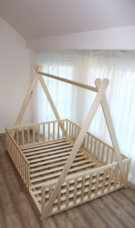 Teepee toddler house bed, Montessori floor bed, , kid bed, wood bed, children home,  children bed, kids bedroom, floor bed