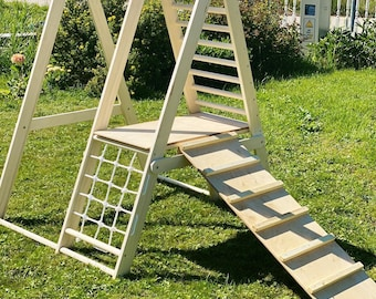 The gym for toddlers, Step Triangle, Climbing frame, Climbing triangle for toddlers, Triangle with ramp, Toddler gym, dreieck