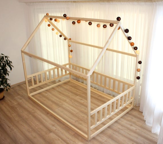 for US size bed, Montessori house bed , Toddler bed, kid bed, wood bed, waldorf toy, nursery crib, kids bedroom, floor bed