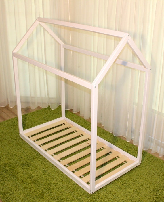 Painted toddler house bed with slats, Montessori style floor bed!
