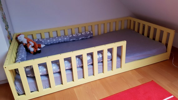 Painted toddler bed , Nursery crib ,childrens beds, kids beds, wood bed, waldorf toy, Montessori bed, kids bedroom, floor bed