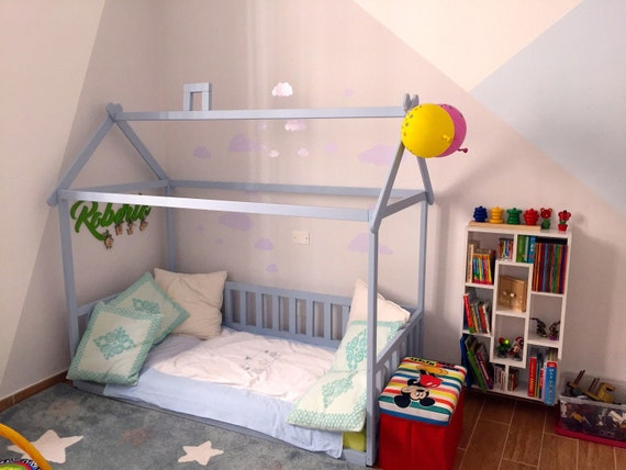 Painted with eco paint toddler house bed with slats, Montessori floor bed, wood bed, children bed, kids bedroom, floor bed