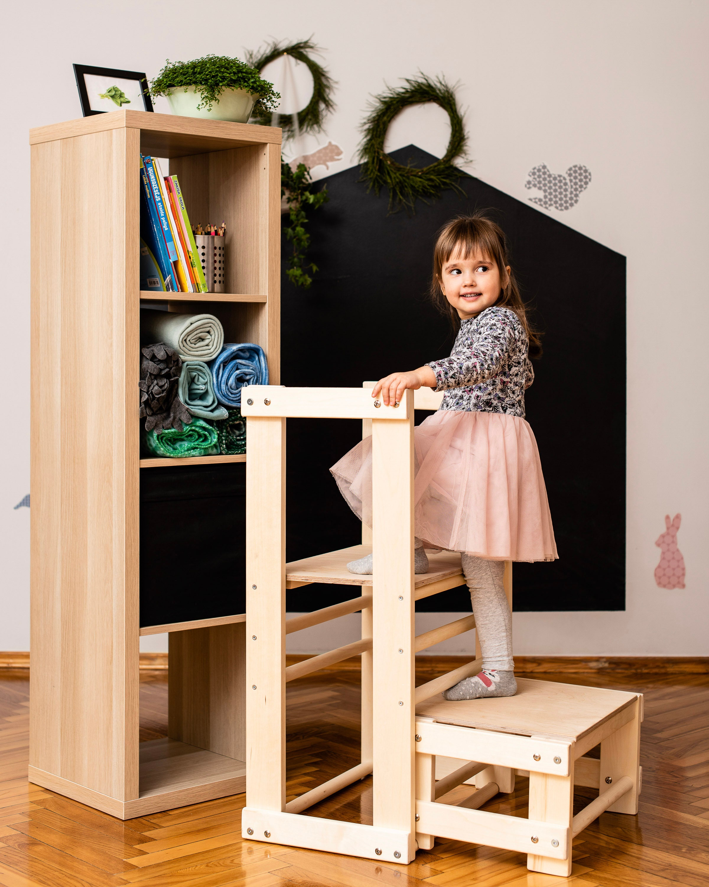 Kitchen helper tower , table, chair, all in one , Toddler safety stool, kitchen step stool , Mommy's Helper