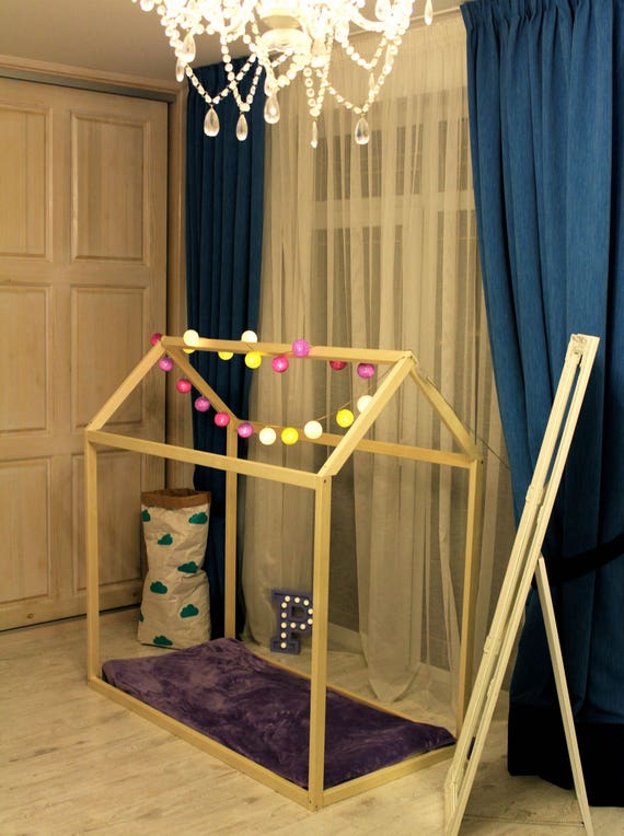 Toddler house bed,  Montessori bed.