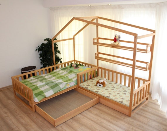 Toddler house beds with slats. Montessori style bed.