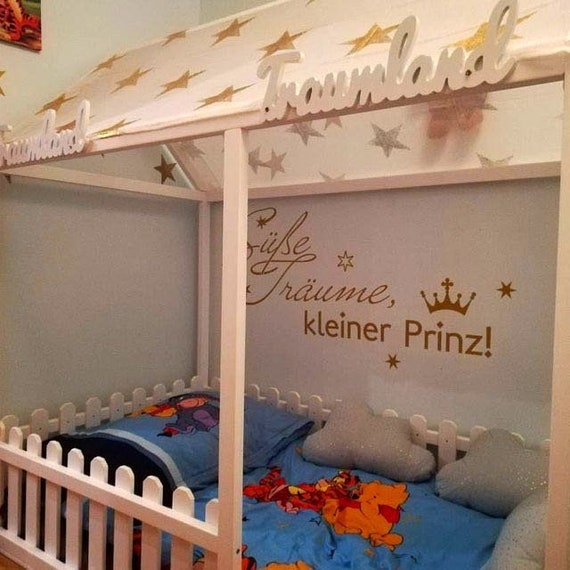 Painted toddler house bed, children bed, Montessori bed