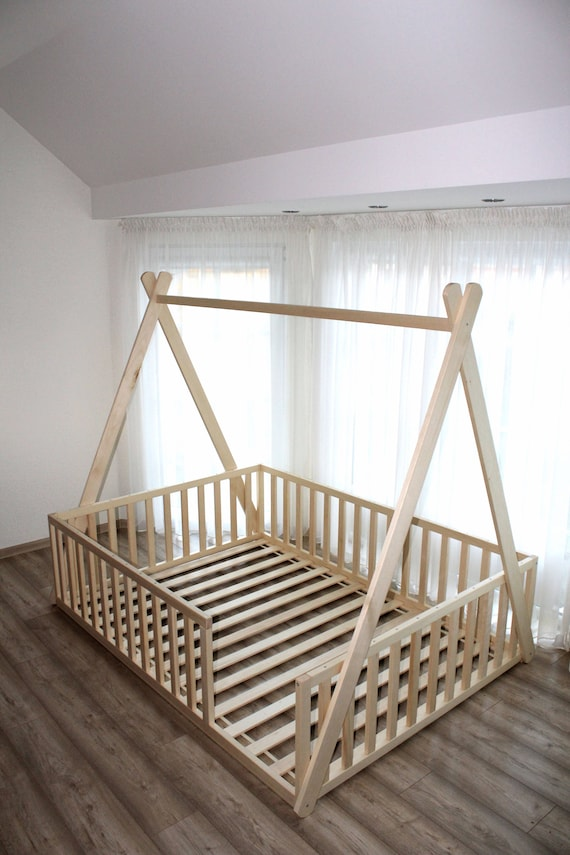 Teepee Toddler House Bed Montessori Floor Bed Kid Bed Etsy