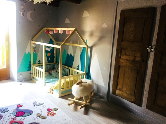Toddler house bed, Montessori style floor bed!