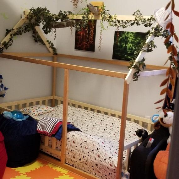 Toddler bed Aspen + Alder wood, Montessori bed, kid bed, wood bed, children home, waldorf toy, nursery crib, kids bedroom, floor bed