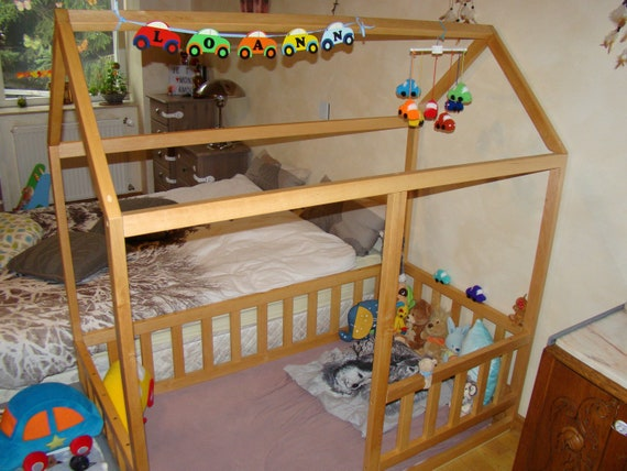 Toddler house bed, Montessori floor bed, teepee bed, kid bed, wood bed, children home, waldorf toy, children bed, kids bedroom, floor bed