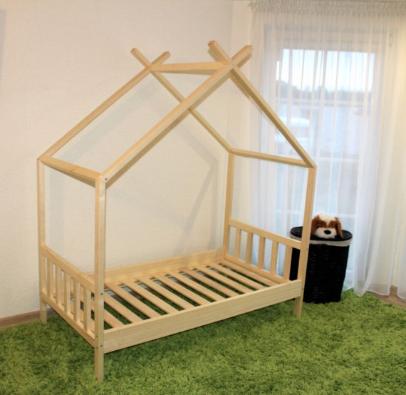 Painted toddler house bed, Montessori style bed!