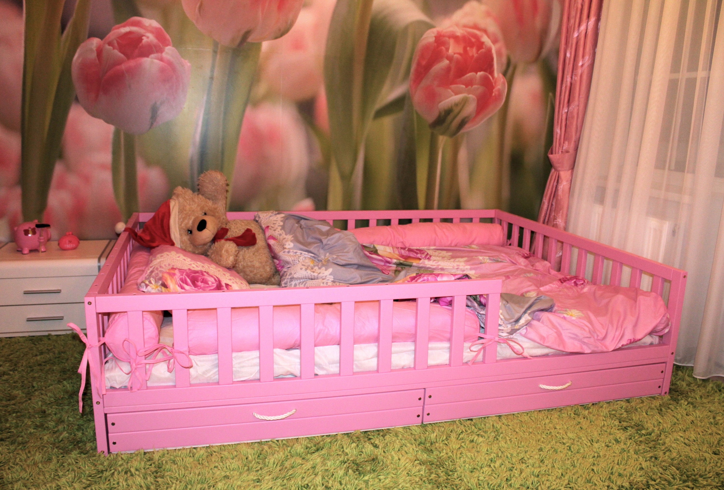 Painted with eco paint toddler bed ,nursery crib, children ...
