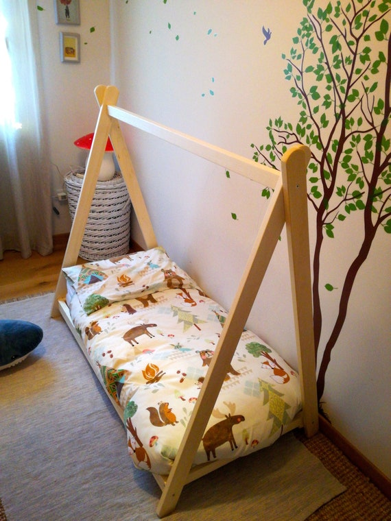 Toddler house bed by HomeForDreams, Montessori bed, teepee bed, kid bed, wood bed, children home, children bed, kids bedroom, floor bed