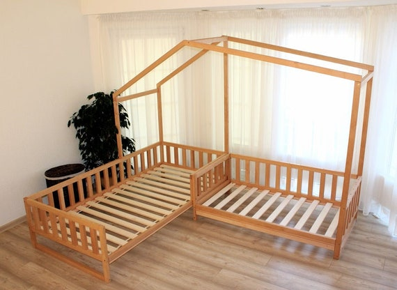 Toddler house beds with slats 75x39in 191x100 cm, gray