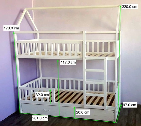 Painted With Eco Paint Bunk Bed With Trundle Montessori Floor Bed Kid Bed Wood Bed Children Home Children Bed Kids Bedroom Floor Bed