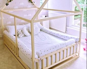 Toddler house bed with slats, Montessori floor bed, kid's bed, wood bed, kid's bedroom