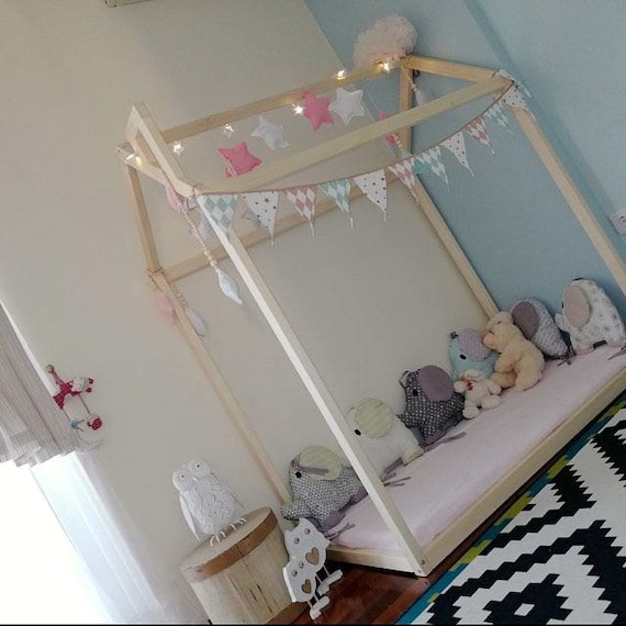 Toddler house bed with slats! Montessori floor bed!