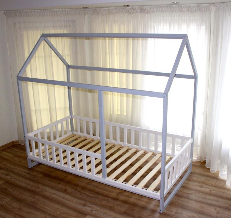 Huis Bed Peuter.Geschilderd Peuter Huis Bed Montessori Vloer Bed Kid Bed Etsy