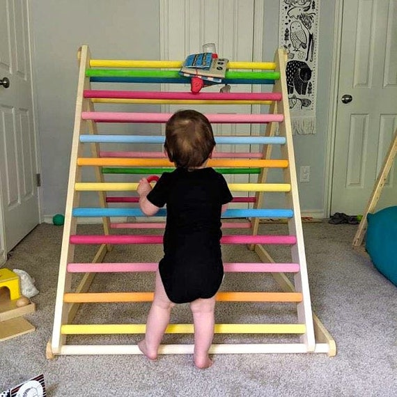 Painted Climbing triangle, Baby climber, Climbing ladder for toddler, Pikler triangle,  Step Triangle, Triangle with ramp, foldable triangle