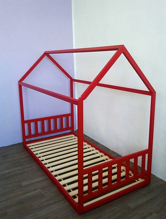 Painted toddler house bed, Montessori floor bed.