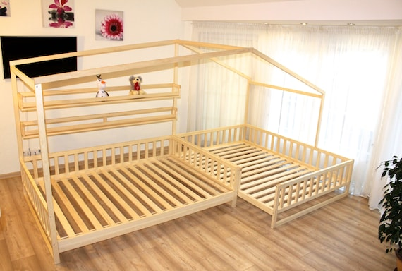 kleinkind haus betten mit lamellen montessori bett etsy. Black Bedroom Furniture Sets. Home Design Ideas