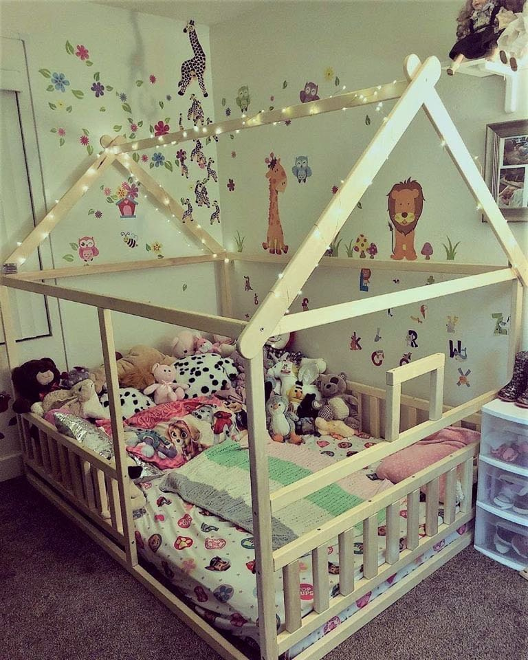 https://home4dreams.com , Toddler house bed with slats, Montessori floor bed, kid's bed, wood bed, kid's bedroom