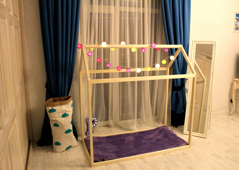 Toddler house bed,  Montessori bed, floor bed, kids furniture, Toddler bed, children bed, kid bed, wood bed, children home, kids bedroom
