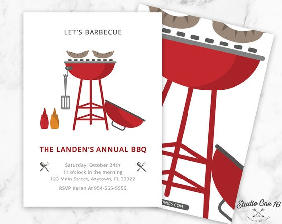 BBQ Invitation BBQ Birthday Bbq Party Barbeque Invitation Etsy