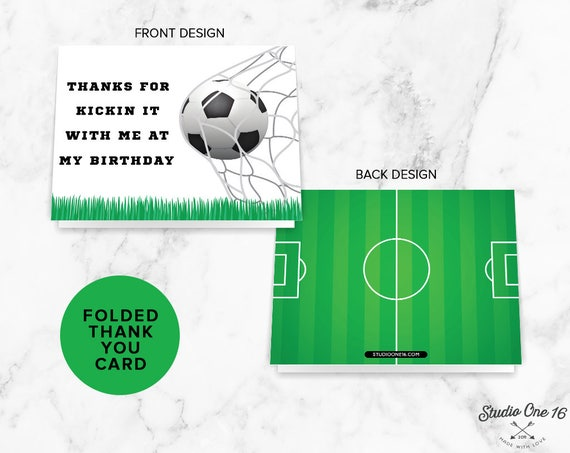 Soccer Party Thank You Card Soccer Printable Party Etsy