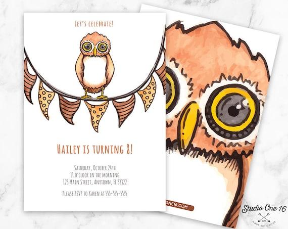 Owl Birthday Invitation Party