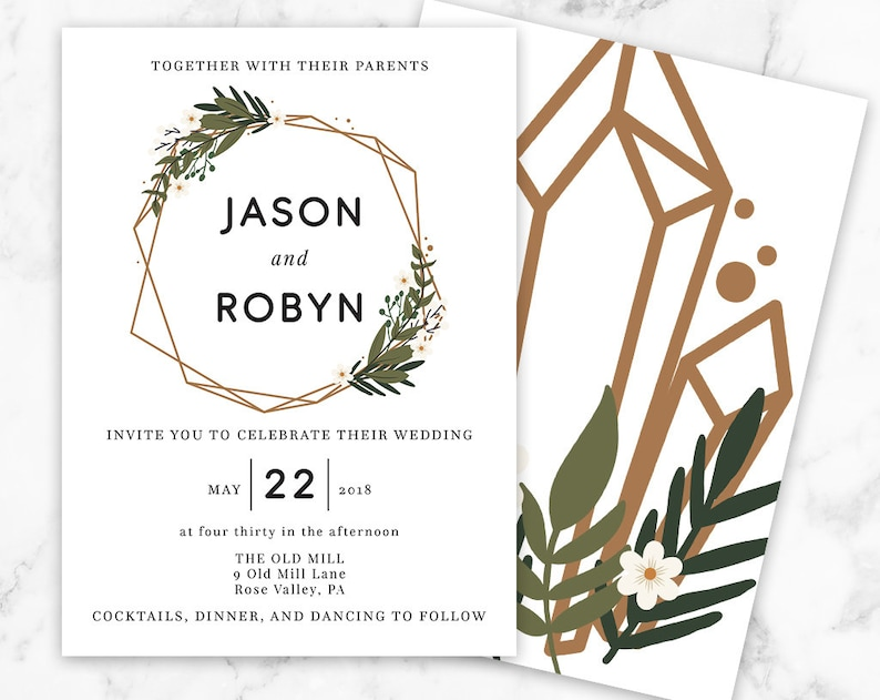 Deco Floral Wedding Invitation Art Deco Floral Printed Wedding Invitation Modern Wedding Invitation ADW01 Floral Frame Wedding Invite