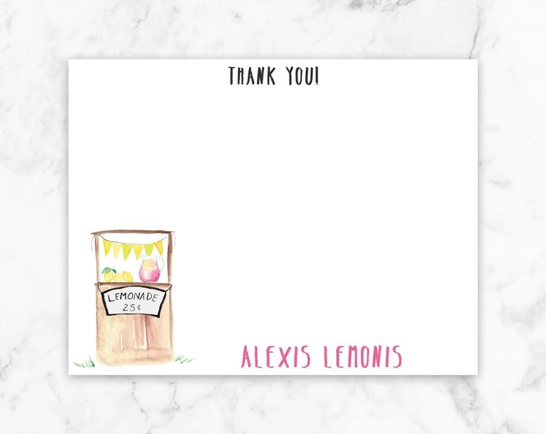 Lemonade Note Card Personalized Note Card Lemonade Stand Lemonade Stationary Lemonade Thank You Card Kid Thank You Card Kid Note Card