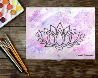Instant download, original watercolor, lotus flower illustration