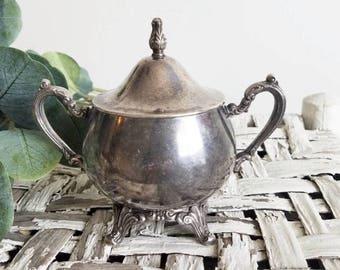 Tarnished Silver Sugar Bowl