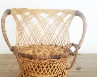 Mini Chair Wicker Planter