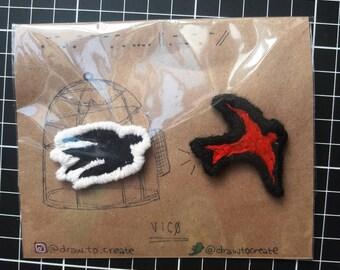 Goner birds iron on patches (set of 2)