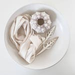 Sea Pearl~White~Hand dyed Habotai Silk Ribbon, Bouquet ribbon,Bridal bouquet ribbon, White Ribbon,Silk Ribbon,Habotai Ribbon,Naturally Dyed~