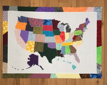 Map quilt | Etsy