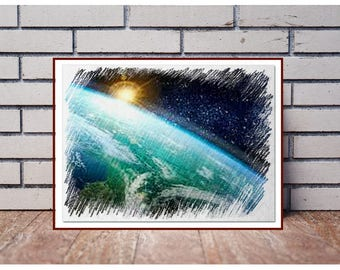 Space print Planet in outer space Earth in space Abstract space art Space painting Stars painting Pencil art Deep Space Sunrise in space