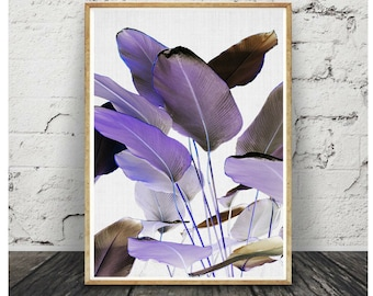 Banana leaf Print,Violet banana leaf,banana leaf poster,Violet Palm print, printable wall art,botanical print,Banana leaves, Violet decor