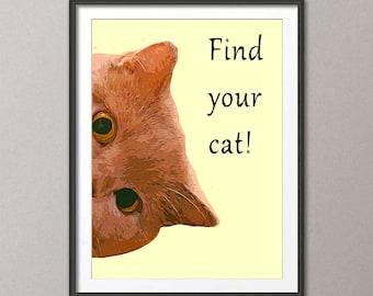 Fine Art Print, art print Find your cat!, painting art, wall art print, print modern