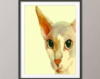 Fine Art Print,  art print cat, painting art, wall art print, print modern