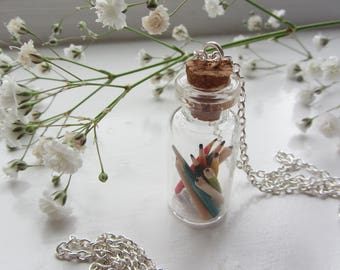 Pencils in a Bottle necklace - FREE POSTAGE to UK