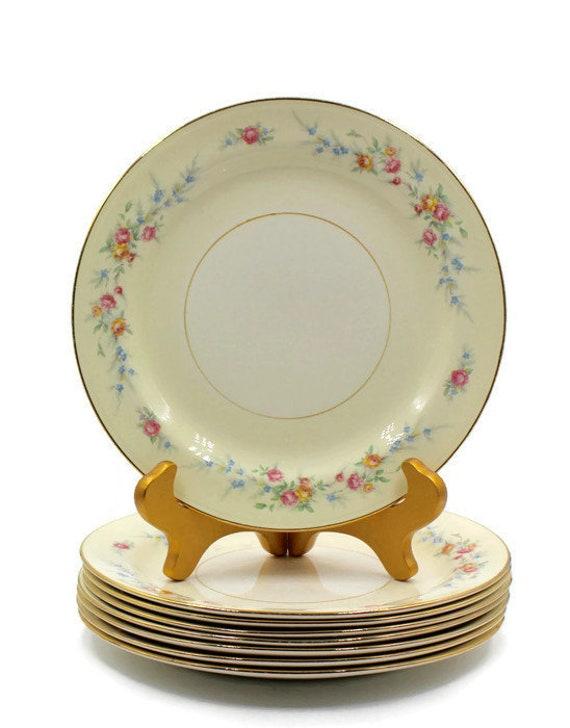 """Coquille de œuf Nautilus déjeuner assiette - Roses rose/jaune - motif de Ferndale N1627 - Homer Laughlin - 9""""- années 1950 abandonné plats de remplacement"""