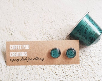 Folksy Patterned Eco-friendly Stud Earrings, Sustainable Jewellery,  Unique Gift by Coffee Pod Creations, World Collection Range