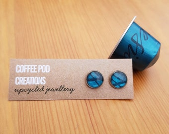 Upcycled Blue Stud Earrings, Handmade from Coffee Pods, a Sustainable, Unique Eco-Friendly Gift by Coffee Pod Creations, Original Collection
